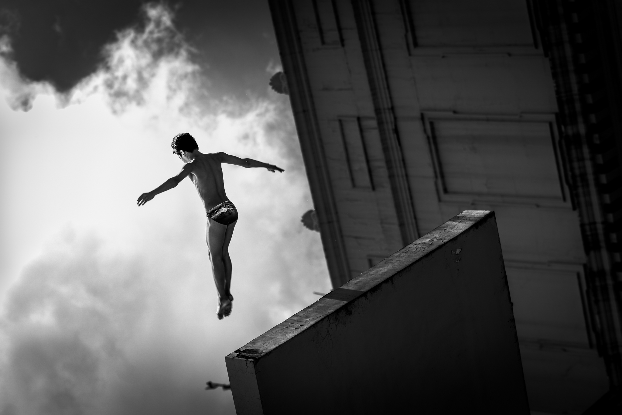Participant performs at the Red Bull Cliff Diving Workshop in Manila, Philippines on April 4, 2019