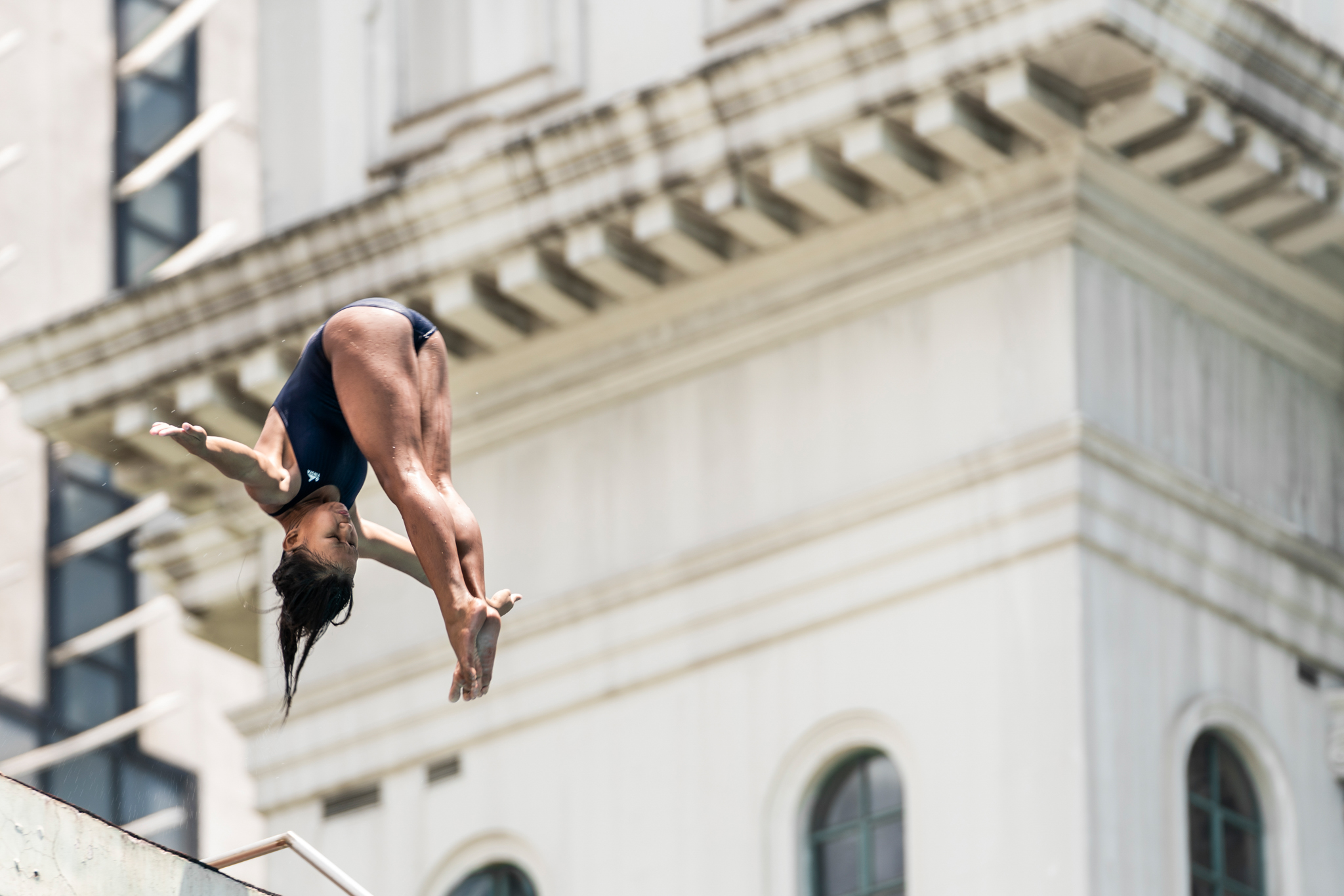 Marie Dimanche performs at the Red Bull Cliff Diving Workshop in Manila, Philippines on April 4, 2019